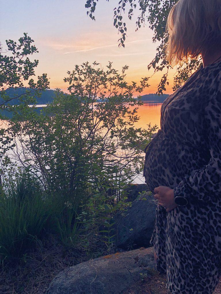 raskaus, raskausmaha, auringonlasku